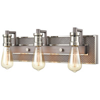 ELK 15493/3 Gridiron 21 inch Weathered Zinc/Polished Nickel Vanity Light Wall Light