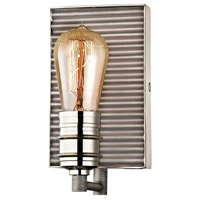 Corrugated Steel 1 Light 5 inch Polished Nickel with Weathered Zinc Vanity Light Wall Light in Weathered Zinc and Polished Nickel