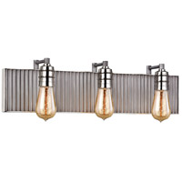Corrugated Steel 3 Light 24 inch Polished Nickel with Weathered Zinc Vanity Light Wall Light in Weathered Zinc and Polished Nickel