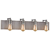 Corrugated Steel 4 Light 32 inch Polished Nickel with Weathered Zinc Vanity Light Wall Light in Weathered Zinc and Polished Nickel