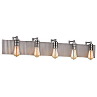 ELK 15924/5 Corrugated Steel 5 Light 40 inch Polished Nickel with Weathered Zinc Vanity Light Wall Light in Weathered Zinc and Polished Nickel