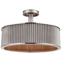 ELK 15925/3 Corrugated Steel 3 Light 19 inch Weathered Zinc with Polished Nickel Semi Flush Mount Ceiling Light