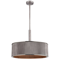 Corrugated Steel 5 Light 24 inch Weathered Zinc with Polished Nickel Pendant Ceiling Light