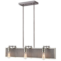 ELK 15928/6 Corrugated Steel 6 Light 32 inch Weathered Zinc with Polished Nickel Island Light Ceiling Light
