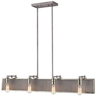 Corrugated Steel 8 Light 43 inch Weathered Zinc with Polished Nickel Island Light Ceiling Light
