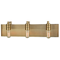 Corrugated Steel 3 Light 24 inch Satin Black Vanity Light Wall Light in Satin Brass