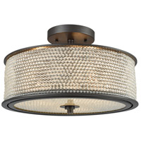 Glass Beads 3 Light 16 inch Oil Rubbed Bronze Semi Flush Mount Ceiling Light