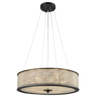 Glass Beads 6 Light 21 inch Oil Rubbed Bronze Chandelier Ceiling Light