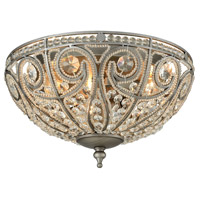 Elizabethan 3 Light 13 inch Weathered Zinc Flush Mount Ceiling Light in Standard