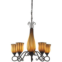 ELK Lighting Phoenix 5 Light Chandelier in Dark Rust 1607/5+1