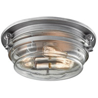 ELK 16104/3 Riley 3 Light 15 inch Weathered Zinc Flush Mount Ceiling Light