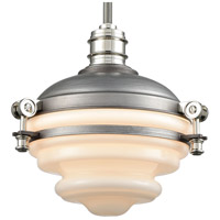 ELK 16106/1 Riley 1 Light 10 inch Weathered Zinc with Polished Nickel Mini Pendant Ceiling Light alternative photo thumbnail