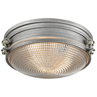 ELK 16123/2 Sylvester 2 Light 14 inch Weathered Zinc with Satin Nickel Flush Mount Ceiling Light