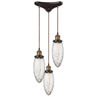 ELK 16310/3 Owen 3 Light 11 inch Antique Brass with Oil Rubbed Bronze Pendant Ceiling Light in Triangular Canopy