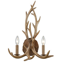 Elk 2 Light 14 inch Wood Brown Wall Sconce Wall Light