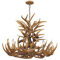 Signature 9 Light 32 inch Wood Brown Chandelier Ceiling Light
