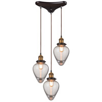 ELK 16325/3 Bartram 3 Light 15 inch Antique Brass with Oil Rubbed Bronze Pendant Ceiling Light in Triangular Canopy