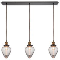 ELK 16325/3LP Bartram 3 Light 36 inch Antique Brass with Oil Rubbed Bronze Linear Pendant Ceiling Light