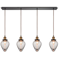 ELK 16325/4LP Bartram 4 Light 46 inch Antique Brass with Oil Rubbed Bronze Linear Pendant Ceiling Light