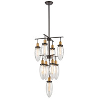Shinzu 9 Light 20 inch Oil Rubbed Bronze with Antique Brass Chandelier Ceiling Light