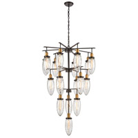 Rubbed Antique Bronze Glass Chandeliers