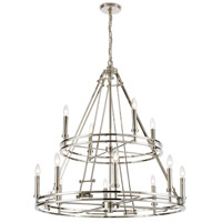 ELK 16344/8+4 Bergamo 12 Light 35 inch Polished Nickel Chandelier Ceiling Light