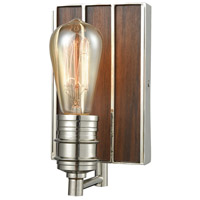 ELK 16430/1 Brookweiler 1 Light 5 inch Polished Nickel with Dark Wood Vanity Light Wall Light Dark Wood Backplate
