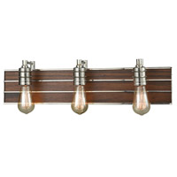 ELK 16431/3 Brookweiler 3 Light 24 inch Polished Nickel with Dark Wood Vanity Light Wall Light, Dark Wood Backplate