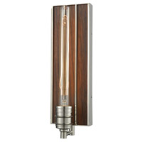 Brookweiler 1 Light 5 inch Polished Nickel Wall Sconce Wall Light, Dark Wood Backplate