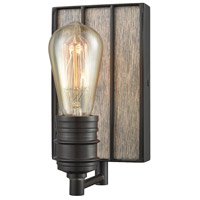 ELK 16440/1 Brookweiler 1 Light 5 inch Oil Rubbed Bronze with Washed Wood Vanity Light Wall Light, Washed Wood Backplate