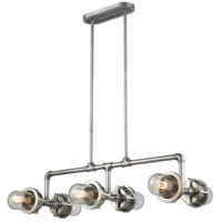 Briggs 6 Light 40 inch Weathered Zinc and Satin Nickel Billiard Island Ceiling Light
