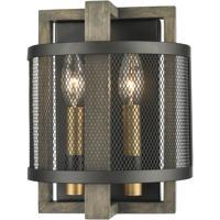 ELK 16541/2 Woodbridge 8 inch Matte Black/Weathered Oak/Aged Brass Sconce Wall Light