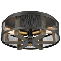 ELK 16545/3 Woodbridge 17 inch Matte Black/Weathered Oak/Aged Brass Flush Mount Ceiling Light
