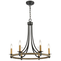 ELK 16548/6 Woodbridge 24 inch Matte Black/Weathered Oak/Aged Brass Chandelier Ceiling Light
