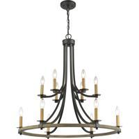ELK 16549/12 Woodbridge 32 inch Matte Black/Weathered Oak/Aged Brass Chandelier Ceiling Light