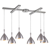 Spun Aluminum 6 Light 17 inch Aluminum Pendant Ceiling Light in Incandescent, Light Bar