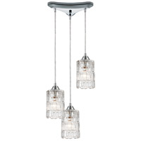 ELK 17414/3 Ezra 3 Light 12 inch Polished Chrome Pendant Ceiling Light in Triangular Canopy