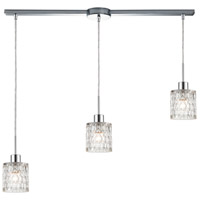 ELK 17424/3L Ezra 3 Light 36 inch Polished Chrome Pendant Ceiling Light in Linear with Recessed Adapter