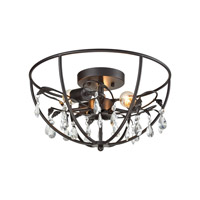 Bridget 3 Light 17 inch Oil Rubbed Bronze Semi Flush Mount Ceiling Light