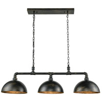 ELK 18256/3 Mulvaney 3 Light 49 inch Black with Brushed Gold Accents Billiard Light Ceiling Light