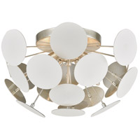 Modish 4 Light 18 inch Matte White with Silver Leaf Flush Mount Ceiling Light