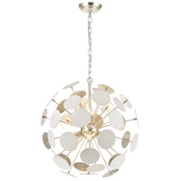 Modish 6 Light 21 inch Matte White with Silver Leaf Pendant Ceiling Light
