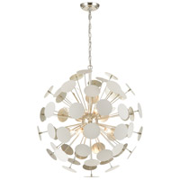 ELK 18286/8 Modish 8 Light 28 inch Matte White with Silver Leaf Pendant Ceiling Light