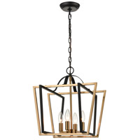 ELK 18355/4 Bridgette 16 inch Matte Black/Satin Brass Pendant Ceiling Light