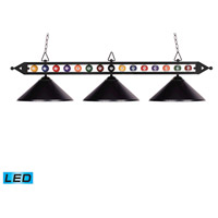 ELK 190-1-BK-M-LED Designer Classics LED 58 inch Matte Black Billiard Light Ceiling Light in Metal, Billiard Motif