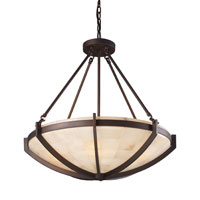 Spanish Mosaic 6 Light 26 inch Aged Bronze Pendant Ceiling Light in Standard