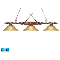 Designer Classics LED 60 inch Wood Patina Billiard/Island Ceiling Light in Amber Gratina Glass