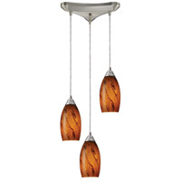 Galaxy 3 Light 10 inch Satin Nickel Pendant Ceiling Light in Brown Glass