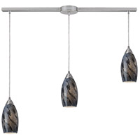Galaxy 3 Light 36 inch Satin Nickel Pendant Ceiling Light in Smoke Galaxy Glass