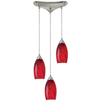 Galaxy 3 Light 10 inch Satin Nickel Pendant Ceiling Light in Red Galaxy Glass